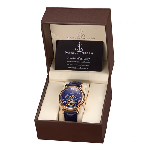 Samuel Joseph limited edition timepiece watch navy blue and gold case automatic designer watch