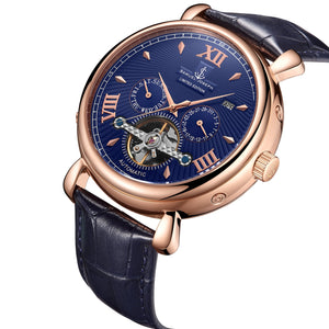 Samuel Joseph Navy Blue and Gold Automatic Skeleton Designer Luxury Mens Watch Leather Strap