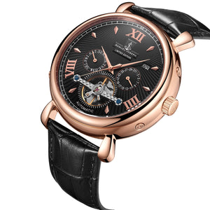 Samuel Joseph Black and Gold Automatic Skeleton Designer Luxury Mens Watch