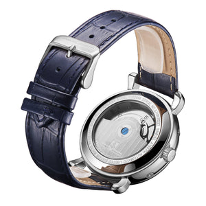 Samuel Joseph Blue and Steel Silver Automatic Skeleton Designer Luxury Mens Watch Leather Strap