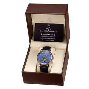 Samuel Joseph Blue and Steel Silver Automatic Skeleton Designer Luxury Mens Watch Leather Strap Box