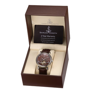 Samuel Joseph Brown and Silver Automatic Skeleton Designer Luxury Mens Watch Brown Leather Strap