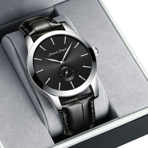 Bespoke 43mm Black & Steel Watch With a Black Leather Strap