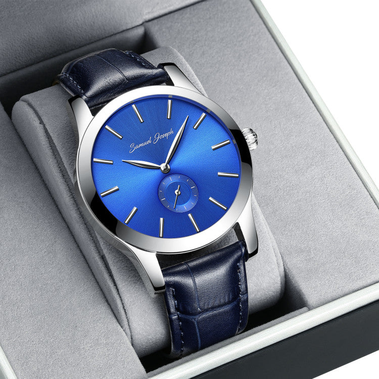 Bespoke 43mm Blue & Steel Watch With a Navy Leather Strap