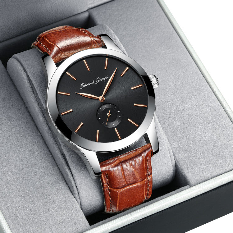 Bespoke 43mm Black & Steel Watch With a Brown Leather Strap