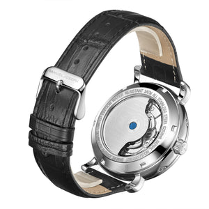 Steel & Grey Automatic Designer Mens Watch with Designer Leather Strap
