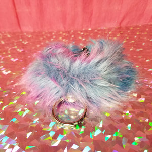 Purple Pink Blue Faux Fur & Black Leather Collar Necklace