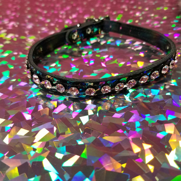 Black Patent Leather w/ Pastel Pink Rhinestones Choker Collar Necklace