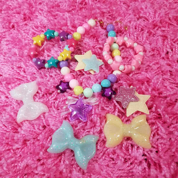 Yellow Glitter Bow Clip Whimsical Fairy Kei Decora Jewelry