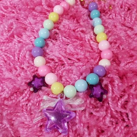Star Necklace Whimsical Fairy Kei Decora Jewelry in Pastel Purple