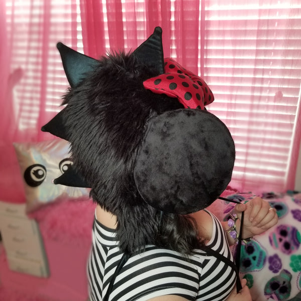 Rebel Mouse Puff Hood Hat in Black with Polka Dot Red Bow