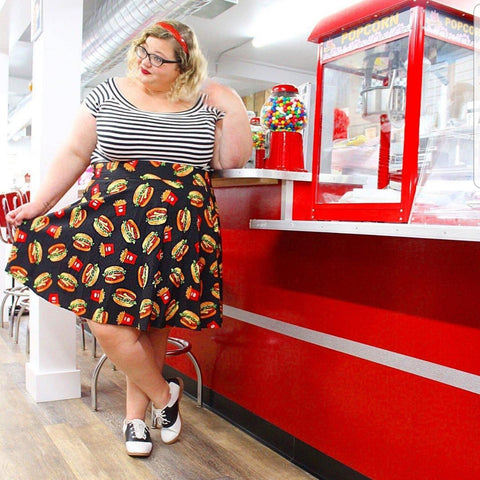 Cheeseburger and Fries Skater Skirt ** Size 4XL Only **