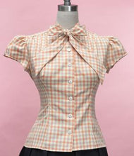 Load image into Gallery viewer, Peaches and Cream Gingham Blouse