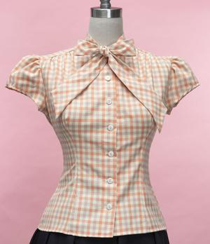 Peaches and Cream Gingham Blouse