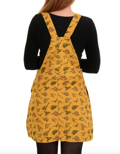Dino Dynamic Twill Mustard Jumper Skirt Dress