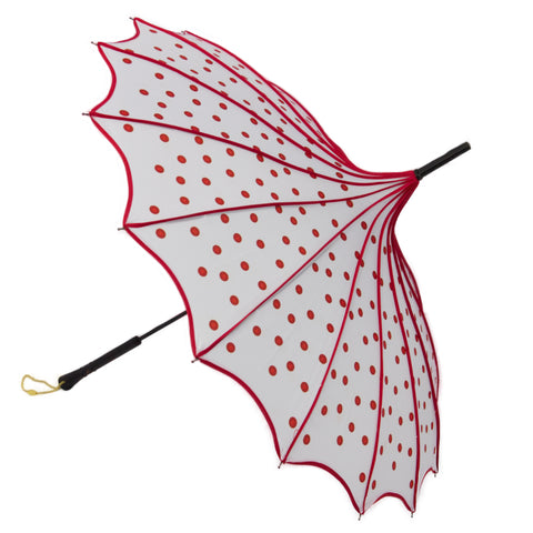Art Pop Polka Dot White and Red Scalloped Edge Parasol