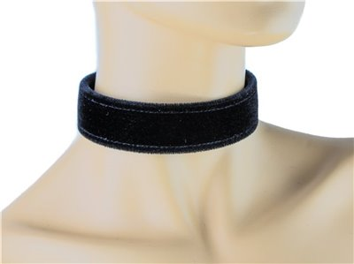 Black Velvet Buckle Choker Collar Necklace