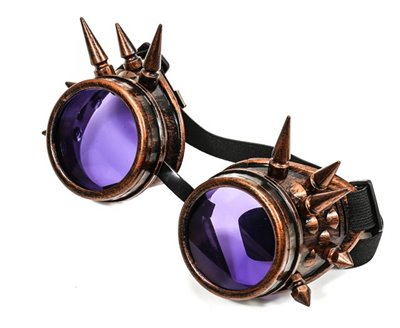 Antique Copper and Purple Spiked Goggles