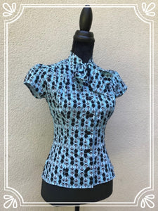 Blue Feelin' Feline Button Up Fitted Blouse
