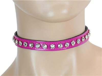 Magenta Patent Leather w/ Clear Rhinestones Choker Collar Necklace