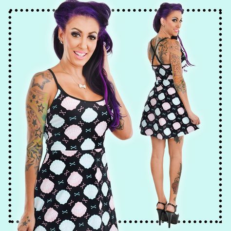 Pastel Mermaid Spaghetti Strap Skater Dress **Size M Only **