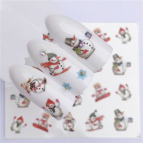 Nail Art Water Decals. New Year, Christmas Themes.