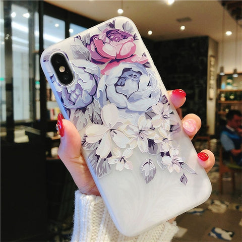 Flower Silicon Phone Case For iPhone 7 8 Plus XS Max XR