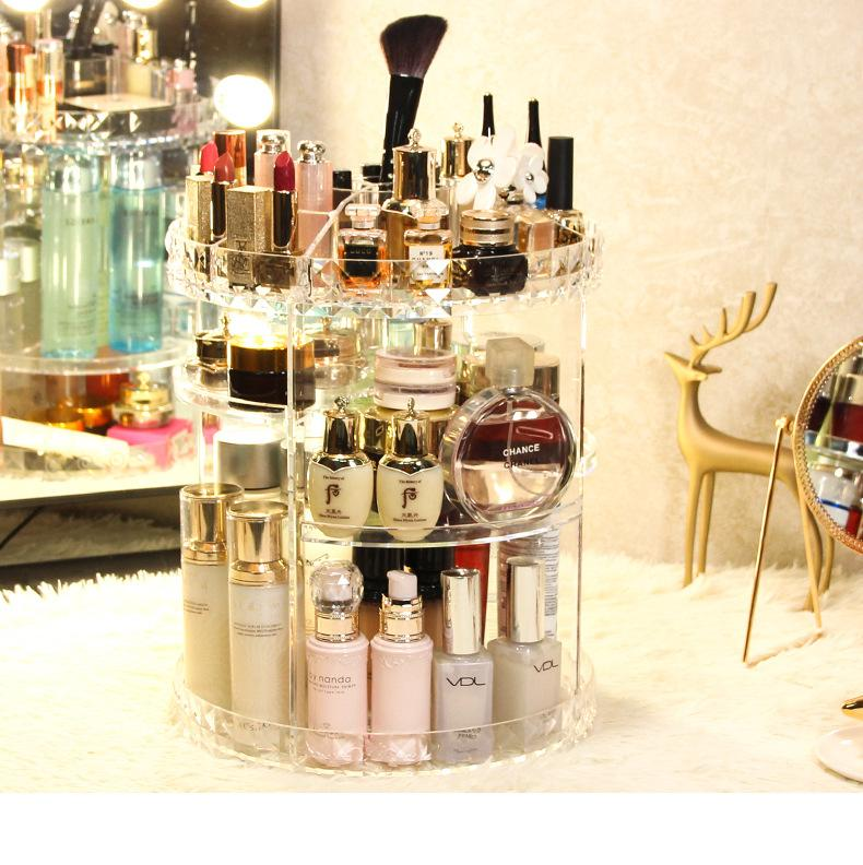 (Buy three get one free+ Free shipping)High Quality 360° Rotating Crystal  Cosmetic Storage Box