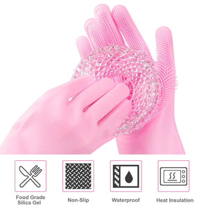 (2 PCS)Reusable Silicone Gloves with Wash Scrubber,Heat Resistant, for Cleaning, Household, Dish Washing, Washing The Car