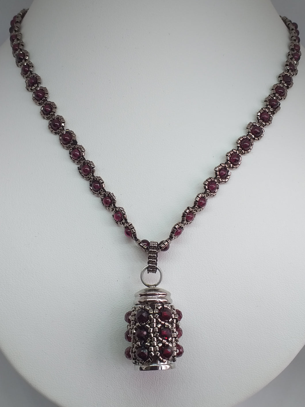 Garnet Amulet Keepsake on Garnet Chain