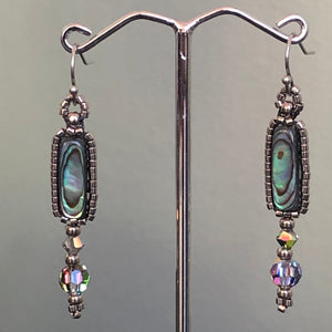 Paua and Swarovski Drop Earrings