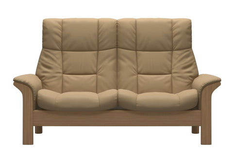 Stressless Buckingham High Back 2 Seater - Paloma Sand/Oak Wood