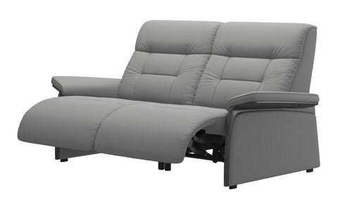 Stressless Mary 2 Seater (2 Power Seats) - Paloma Silver Grey/Grey Wood