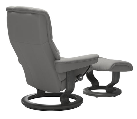 Stressless Mayfair Medium Classic Base Chair - Paloma Silver Grey/Grey Wood