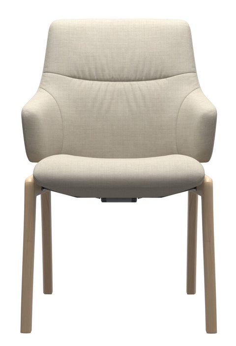 Stressless Mint D100 Low Back Dining Chair - Silva Light Beige/Oak Wood