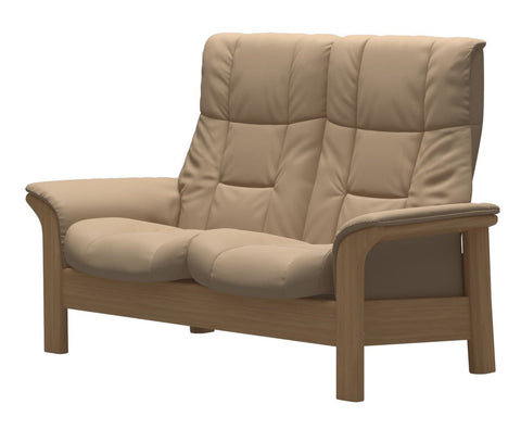 Stressless Windsor High Back 2 Seater - Paloma Beige/Oak Wood