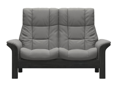 Stressless Windsor High Back 2 Seater - Paloma Silver Grey/Grey Wood