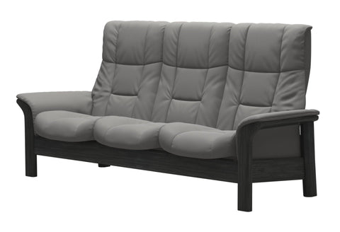 Stressless Windsor High Back 3 Seater - Paloma Silver Grey/Grey Wood