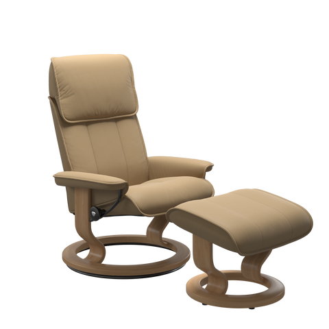 Stressless Admiral Medium Recliner Chair & Footstool In Paloma Sand & Oak With Classic Base