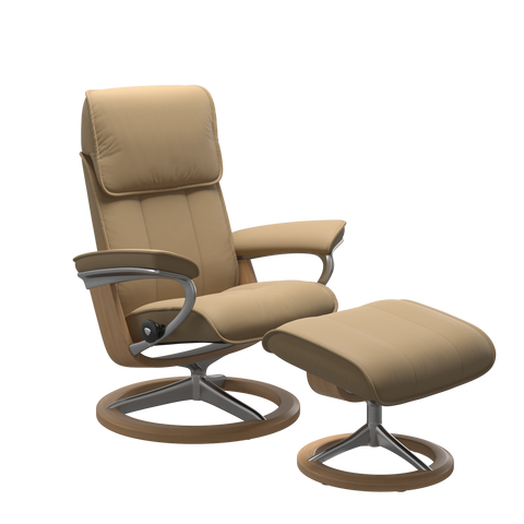 Stressless Admiral Medium Recliner Chair & Footstool In Paloma Sand & Oak With Signature Base - IN STOCK!