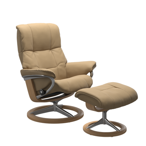 Stressless Mayfair Medium Recliner Chair & Footstool In Paloma Sand & Oak With Signature Base