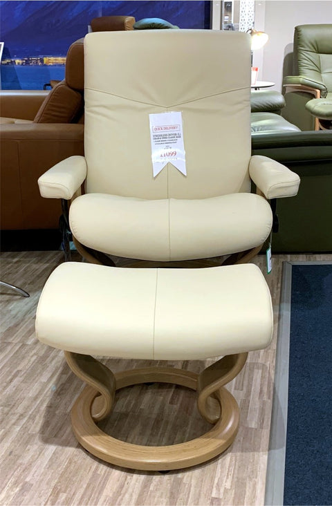 Stressless Consul Leather Large Classic Base Recliner Chair & Stool