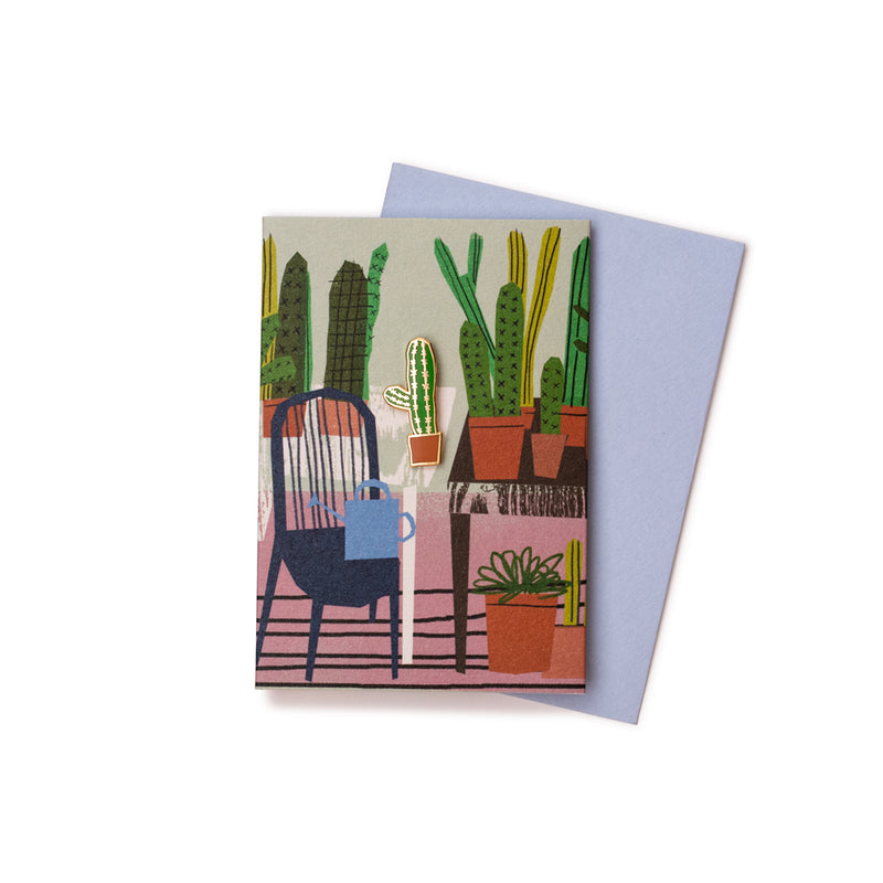 'Cactus Glass Room' Enamel Pin Card