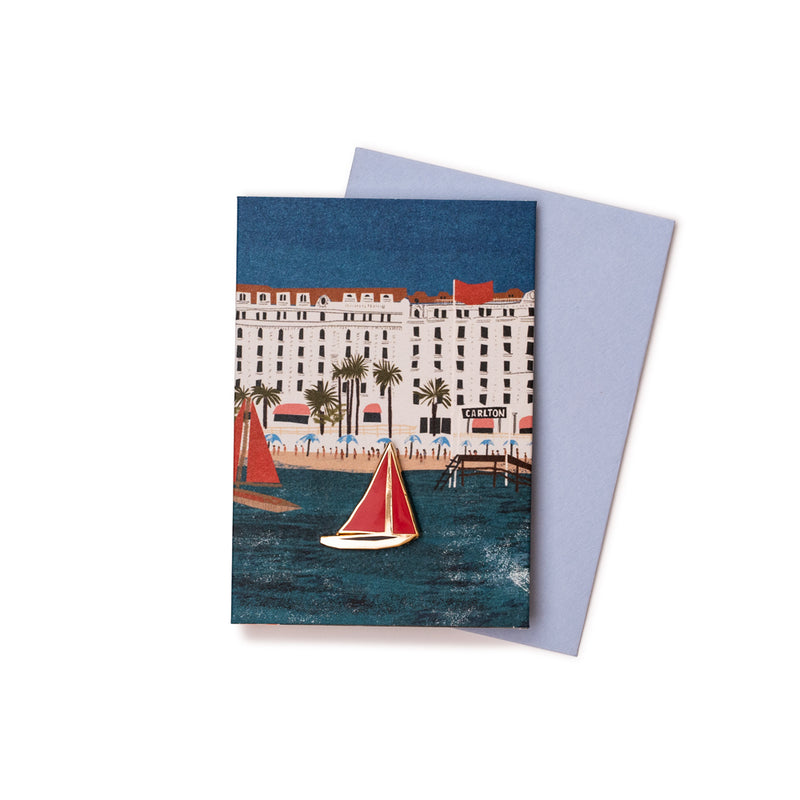 'Cannes Beach' Enamel Pin Card