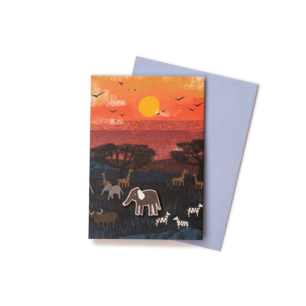 'Serengeti Sunset' Enamel Pin Card