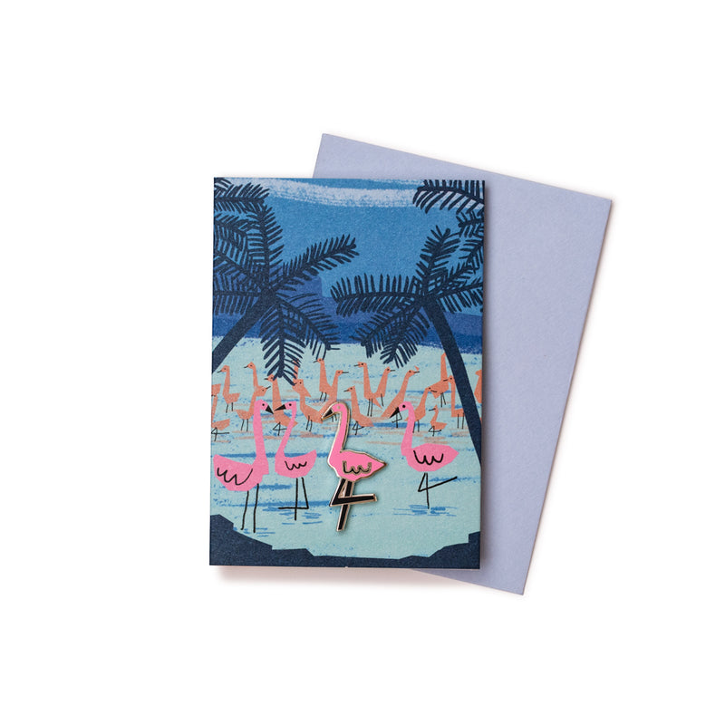'Twilight Flamingos' Enamel Pin Card