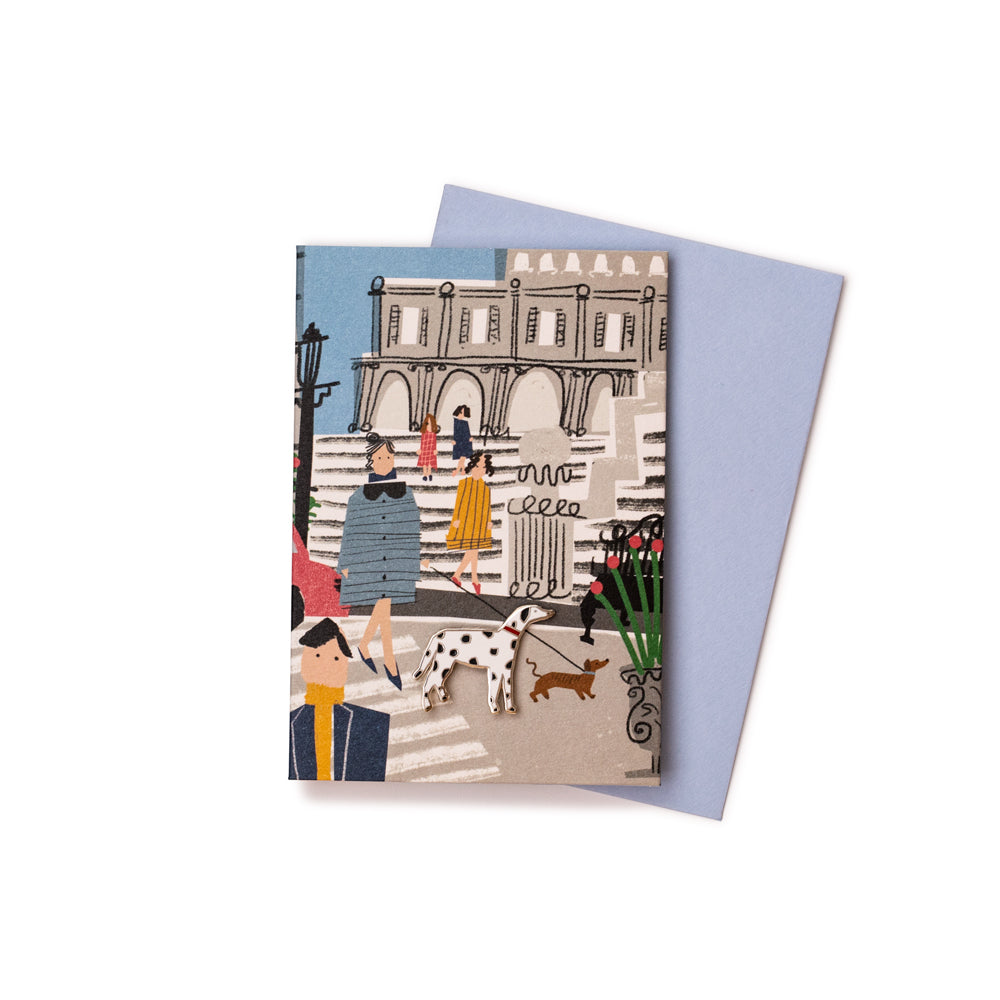 'Parisian Pets' Enamel Pin Card