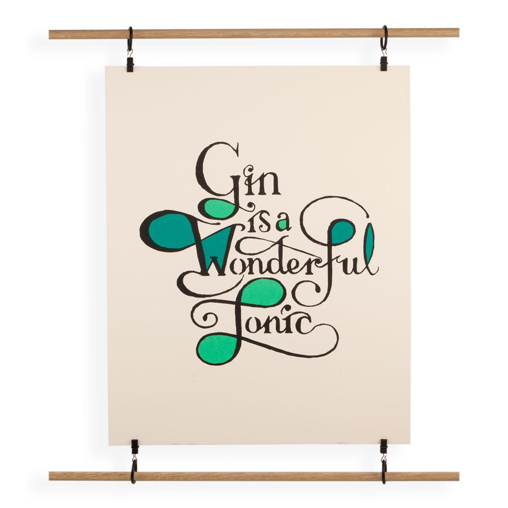 'Gin Is A Wonderful Tonic' Screenprint by Duncan Noack-Cox