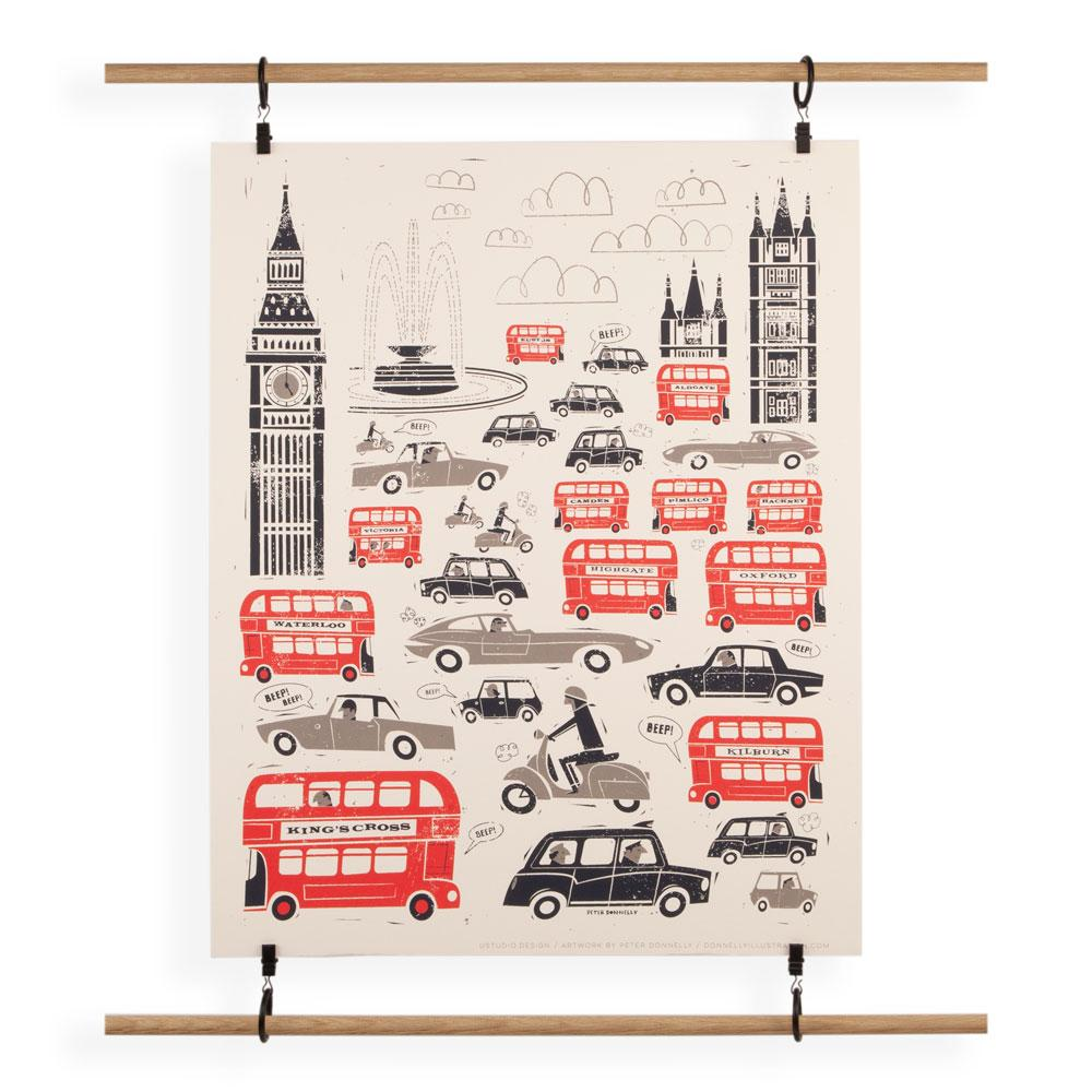 'London Traffic' Screenprint by Peter Donnelly