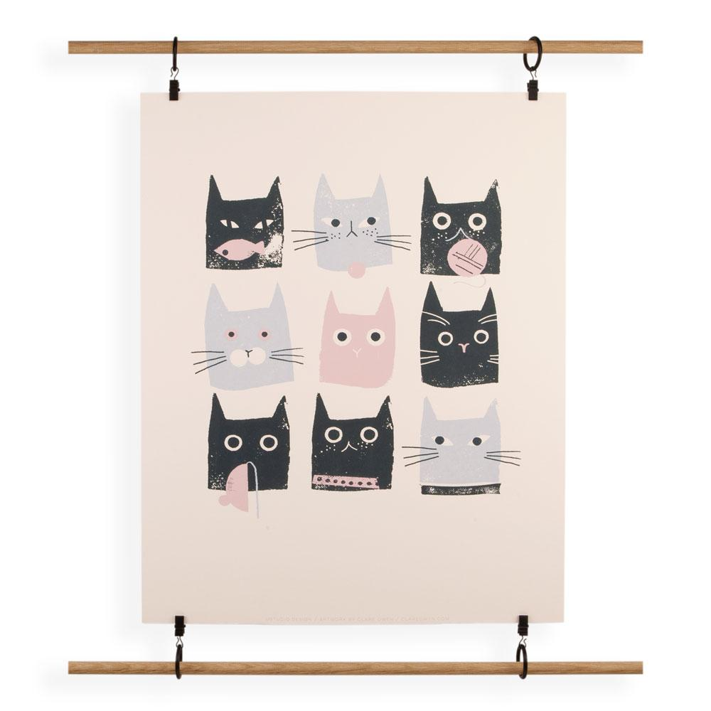 'Cats' Screenprint by Clare Owen